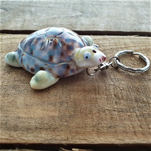 Turtle Cowrie Shell Keyring. - Just-Oz