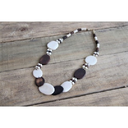Bone and Orange Wood Moroccan Necklace. - Just-Oz