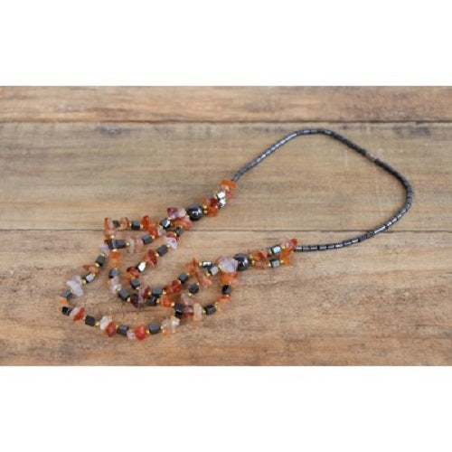 Hematie and stone Moroccan Necklace. - Just-Oz