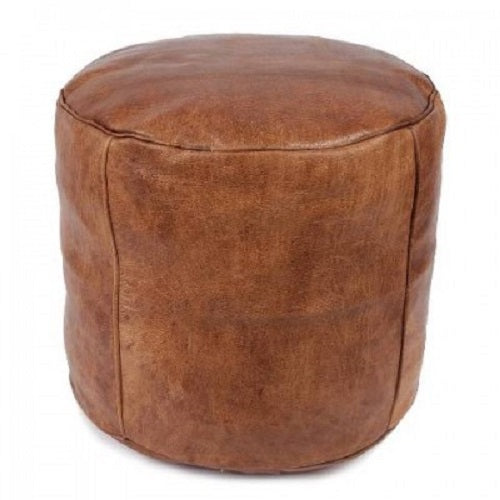 Moroccan Leather Drum Pouffe. - Just-Oz