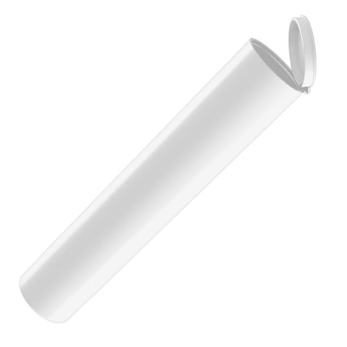 wide plastic 126mm bulk wholesale pop-top pre-roll tubes opaque white