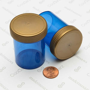 threaded airtight jars for storing and holding flower in translucent blue 2