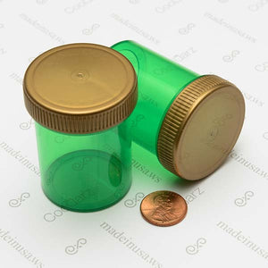 wholesale dram bottles threaded airtight jars for storing and holding flower in translucent green