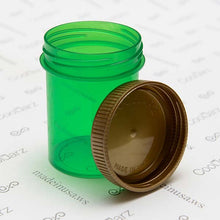 Load image into Gallery viewer, odor free bottle threaded airtight jars for storing and holding flower in translucent green