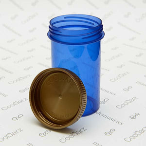 19 Dram Screw Top Vials with Gold Cap for packaging flower translucent blue 2