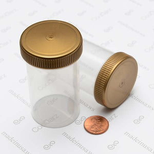 19 Dram Screw Top Vials with Gold Cap for packaging flower translucent clear jar