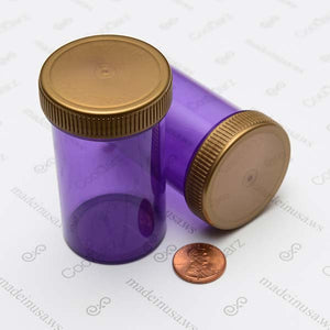 19 Dram Screw Top Vials with Gold Cap for packaging flower translucent purple 2