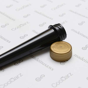 black opaque pre-roll cone tube with gold cap