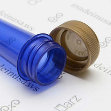 Load image into Gallery viewer, blue transparent pre-roll cone tube with gold cap