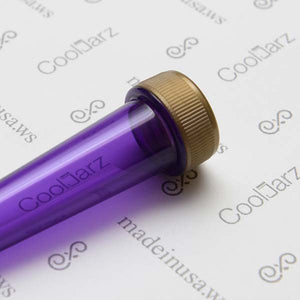 purple transparent pre-roll cone tube with gold cap