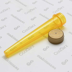 yellow transparent pre-roll cone tube with gold cap