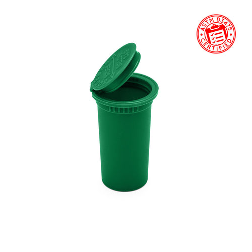 pop top jars 13 Dram Child Resistant Pop Top rx Bottles for flower in opaque green