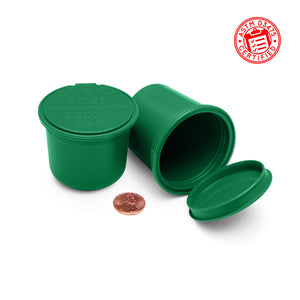 11 Dram (1.5 gram) Child Resistant Pop Top Bottles shatter jars in opaque green