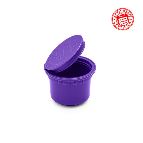 11 Dram (1.5 gram) Child Resistant Pop Top Bottles shatter jars in opaque purple