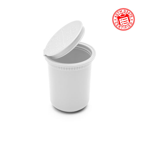 child resistant pop top 30 dram plastic container opaque white