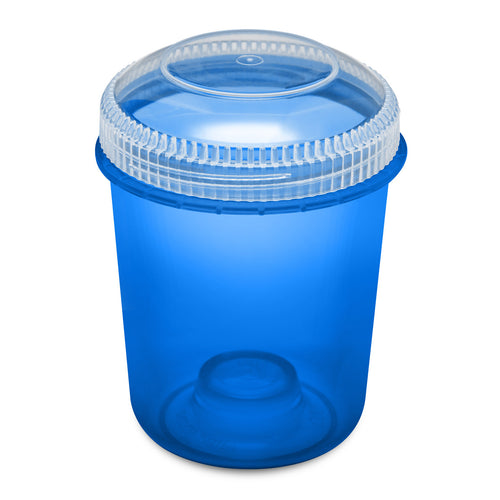 13oz 105 Dram Plastic Container with Clear Lid for flower and edibles translucent blue