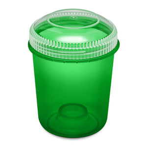 13oz 105 Dram Plastic Container with Clear Lid for flower and edibles translucent green
