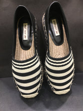 Load image into Gallery viewer, Stripes Black & White, leather, espadrilles real jute sole **recommend sizing down one full size**