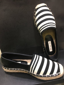 Stripes Black & White, leather, espadrilles real jute sole **recommend sizing down one full size**