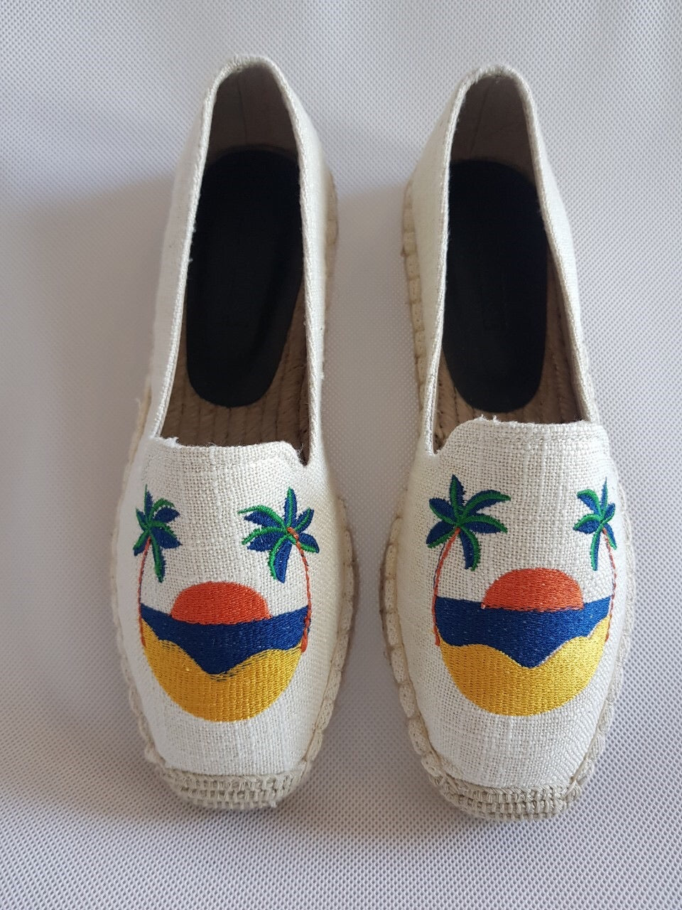 SW-Off-white canvas,sunset embroidery espadrilles