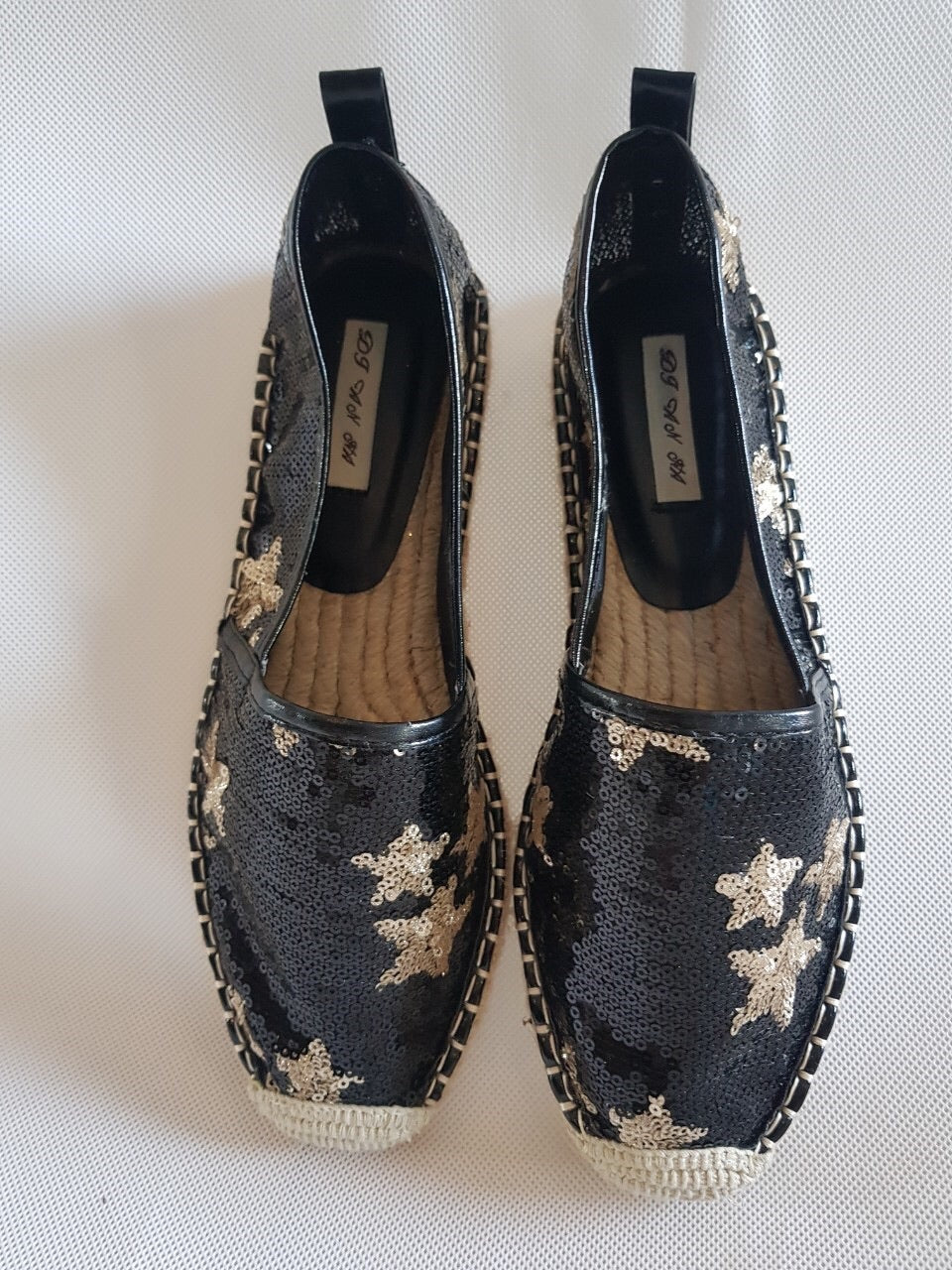 GSB-Black sequins gold star espadrilles **recommend sizing down one full size**