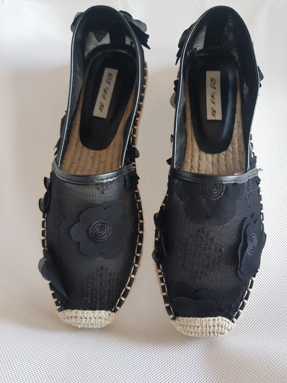 F3B-Black Lace Espadrilles 3D Flower **recommend sizing down one full size**