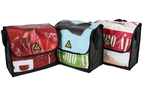 Pannier Bike Bag Made with Recycled Advertisement Banners   Pacific Rayne Gear