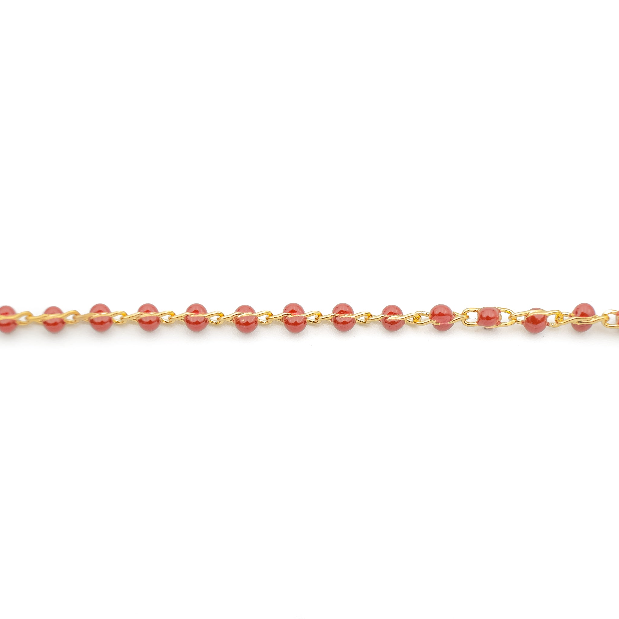 Chain #213 by ft - garnet beaded chain -2mm