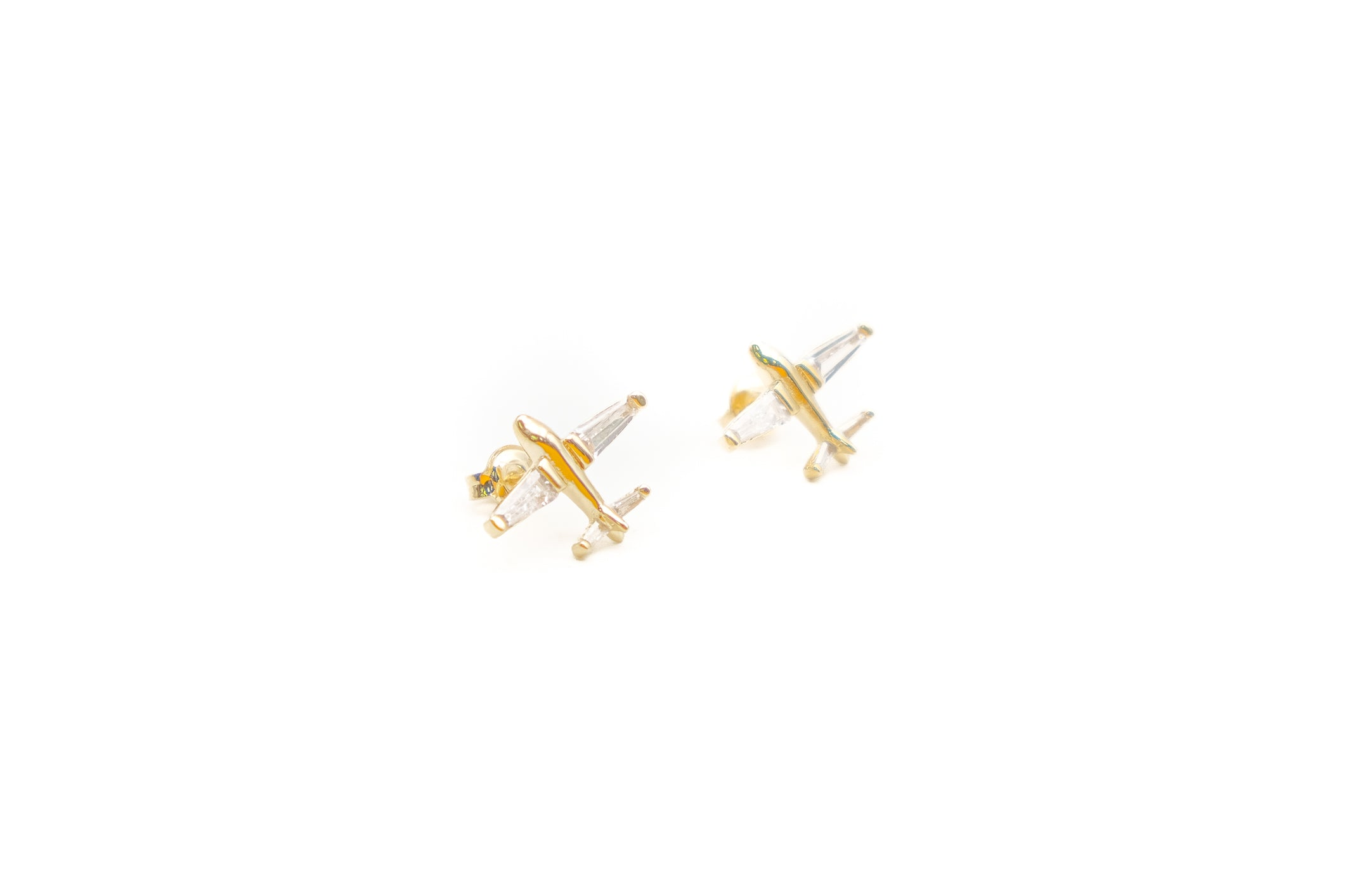Airplane with Crystals Earrings - (1 pair)