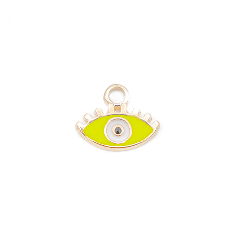 Evil Eye Neon Yellow Enamel