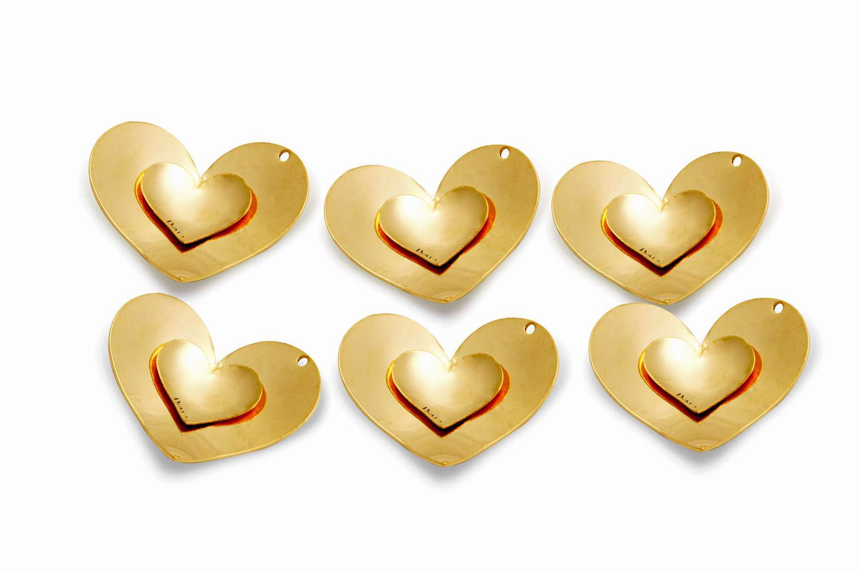 Double Heart Pendant - 6 pcs