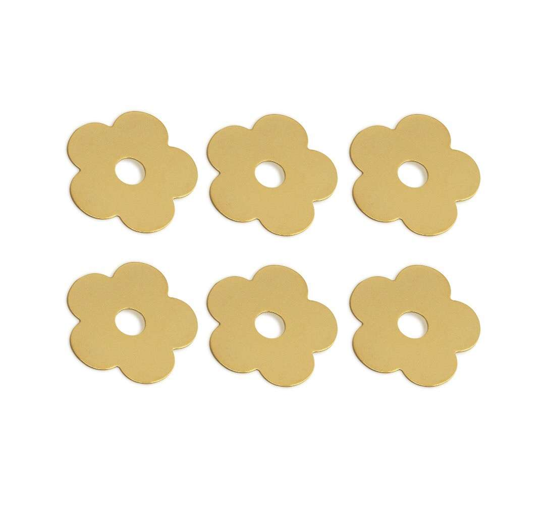 Flower Button Plain - 6 pcs