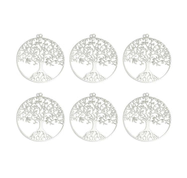 Tree Pendant Silver - 6 pcs