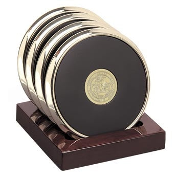 Polished Brass Tone Coaster Set of 4
