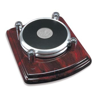 Brushed Silver Tone Coaster Set of 2 Rosewood Base