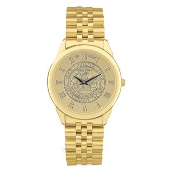 Mens Gold Tone Plated Medallion Wristwarch