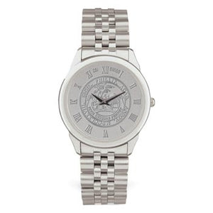 Mens Polished Silver Tone Medallion Wristwatch