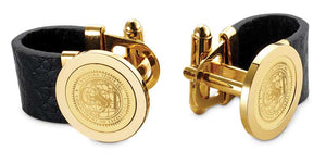 Leather/Gold Tone Cufflinks