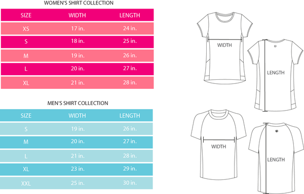 Sizing Chart for Alma Active Shirts