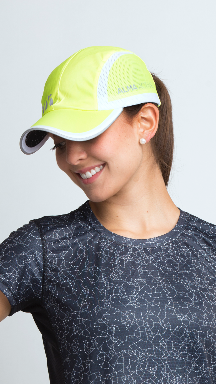 Neon Yellow Running Cap – Alma Active 8896816a738