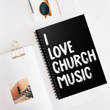 Load image into Gallery viewer, I Love Church Music Spiral Notebook (Black)