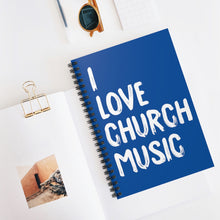 Load image into Gallery viewer, I Love Church Music Spiral Notebook (Blue)