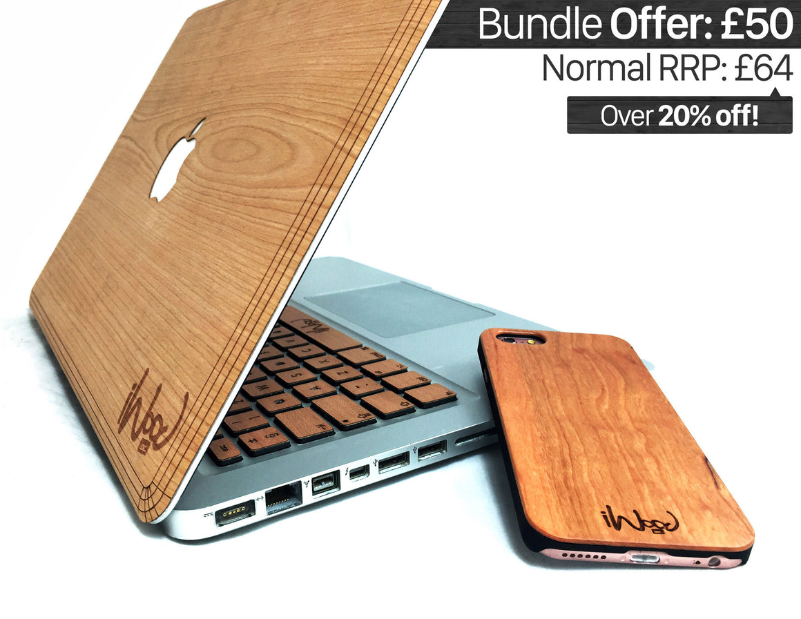 CLASSIC BUNDLE OFFER - Wood iPhone Case + Wood MacBook Skin + Wood MacBook Keyboard (RRP: £64)  - iWood inc