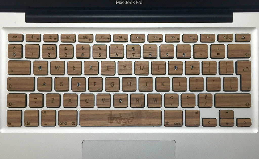 Real walnut wood MacBook Keyboard Skin KeyBoard - iWood inc