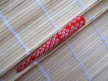 Load image into Gallery viewer, Red Kimono Shibori Silk Clip, Metal Long Clip