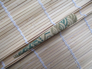 Kimono Fabric Hair Slide, Wabi-Sabi Brown Green Alligator Clip