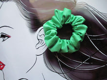 Load image into Gallery viewer, Kimono Scrunchie, Silk Scrunchy, Solid Green Hair Tie