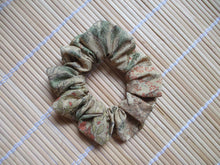 Load image into Gallery viewer, Wabi-Sabi Bamboo Japanese Maples Brown Beige Silk Kimono Scrunchies