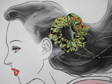 Load image into Gallery viewer, Burgundy Silk Kimono Scrunchies, Japanese Hair Accessory