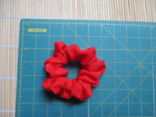 Load image into Gallery viewer, Bright Red Silk Kimono Fabric Hair Tie, Vintage Fabric Scrunchies